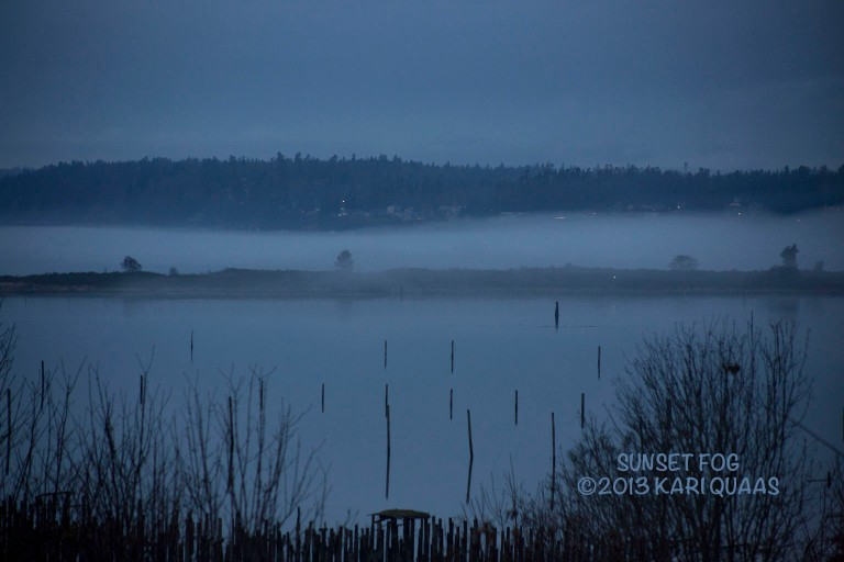 A foggy day looking towards Priest Point to the west of Marysville and Tulalip.