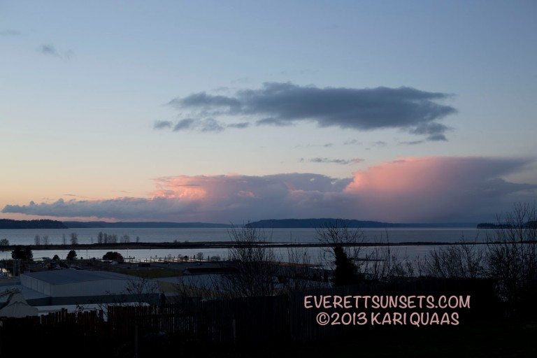 Pink clouds surrounding Camano Island