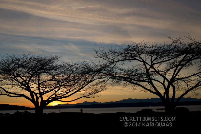 Sunset over Everett Marina - January 5, 2014