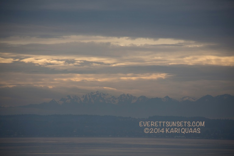 Layers of light, clouds and Olympic Mountains